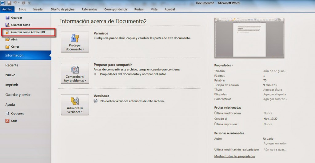 Guardar como Adobe PDF